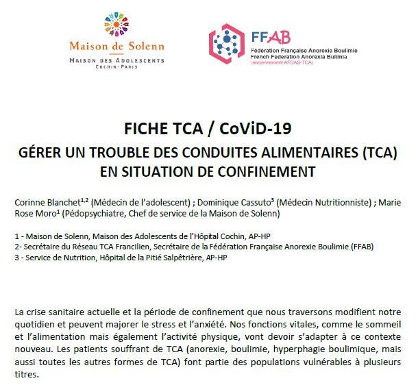 Fiche TCA / CoViD-19